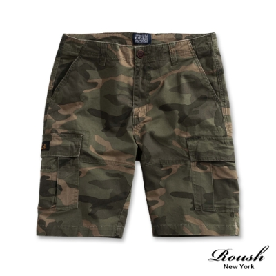 Roush (迷彩)美式雙口袋高磅數水洗短褲(2色)