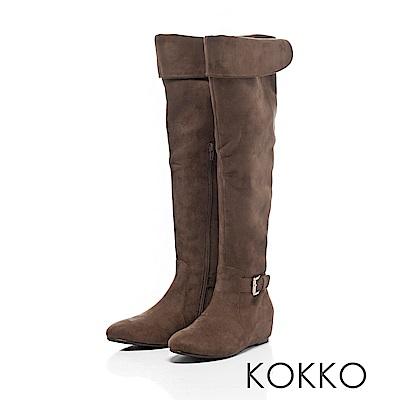 KOKKO - 戀之冬曲2 WAY內增高長靴 - 拿鐵咖