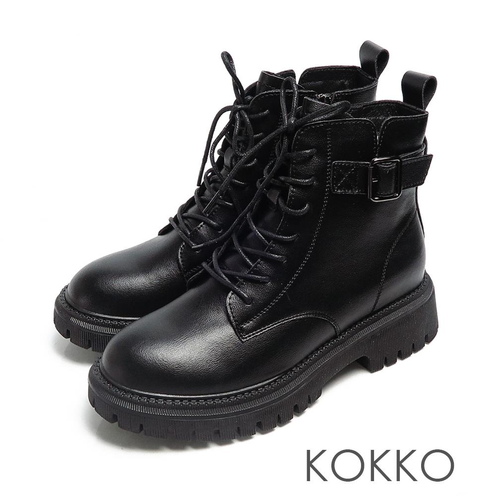KOKKO歐美經典素面綁帶全真皮側拉鍊馬汀靴黑色