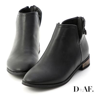 D+AF 經典自信.側V口後拉鍊低跟短靴*黑