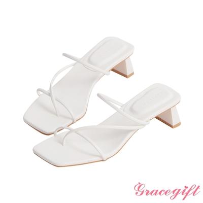 Grace gift-層次細帶中跟涼拖鞋 白