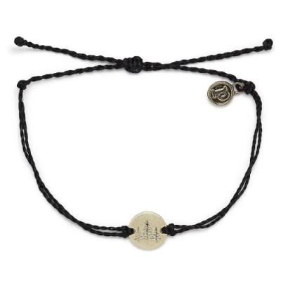 Pura Vida 美國手工 WANDER金色漫遊 黑色蠟線可調式衝浪手環