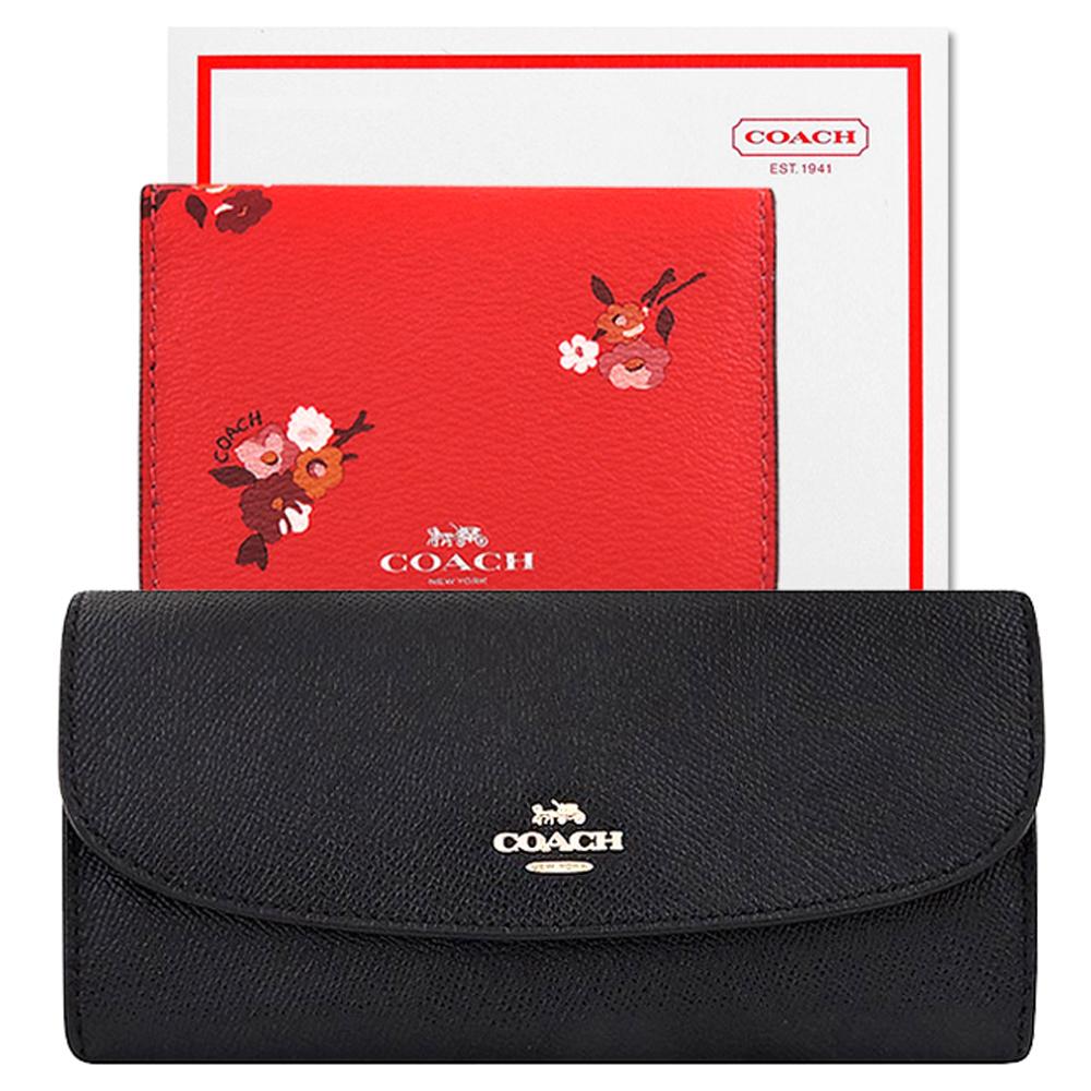 COACH 黑色防刮皮革壓釦八卡長夾+COACH 紅色花朵圖樣PVC證件名片短夾
