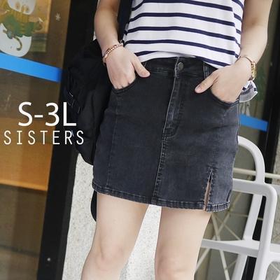 SISTERS 顯瘦黑系開衩牛仔褲裙 短裙/S-3