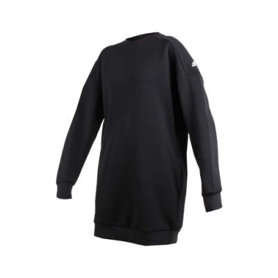ADIDAS 女長袖圓領T恤-長版上衣 長T 長袖上衣 愛迪達 黑白