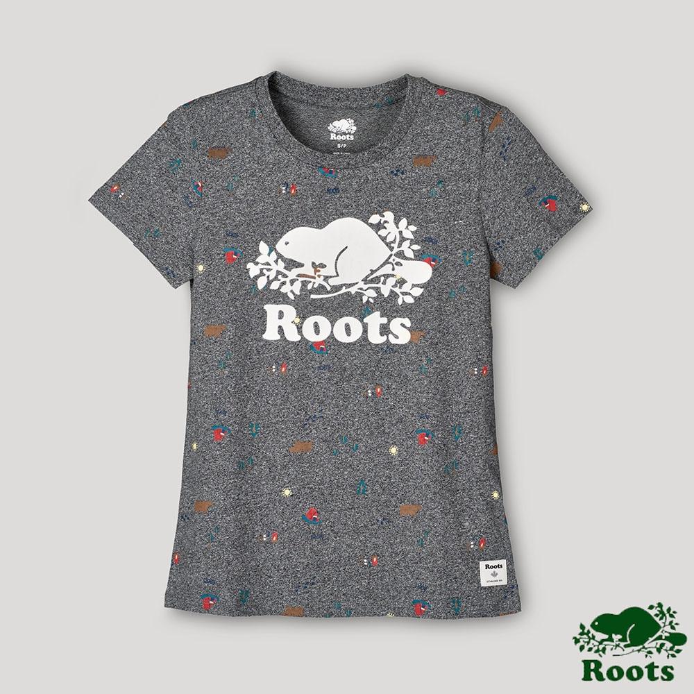 Roots女裝-戶外野營系列 露營元素短袖T恤-灰色