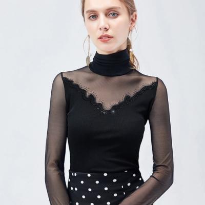 專注內搭-黑色網紗高領內搭長袖T恤設計感性感緊身上衣(S-3XL可選)