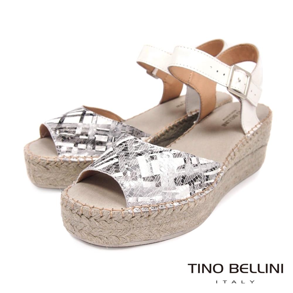Tino Bellini 西班牙進口抽象光束草編楔型涼鞋-銀白