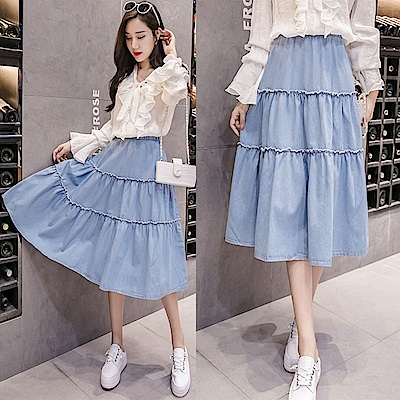 俏麗有型韓版鬆緊腰單寧中裙S-3XL-WHATDAY