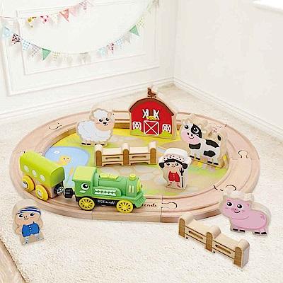 台灣 KCfriends 木製軌道車玩具-小小農場火車組