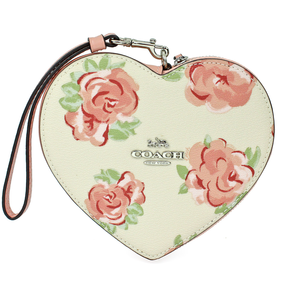 COACH  限定款金屬馬車粉色花朵心型零錢袋手拿包(白色)COACH