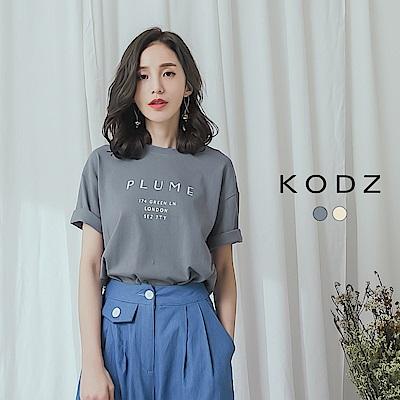 東京著衣-KODZ 休閒百搭字母圓領T恤上衣(共兩色)