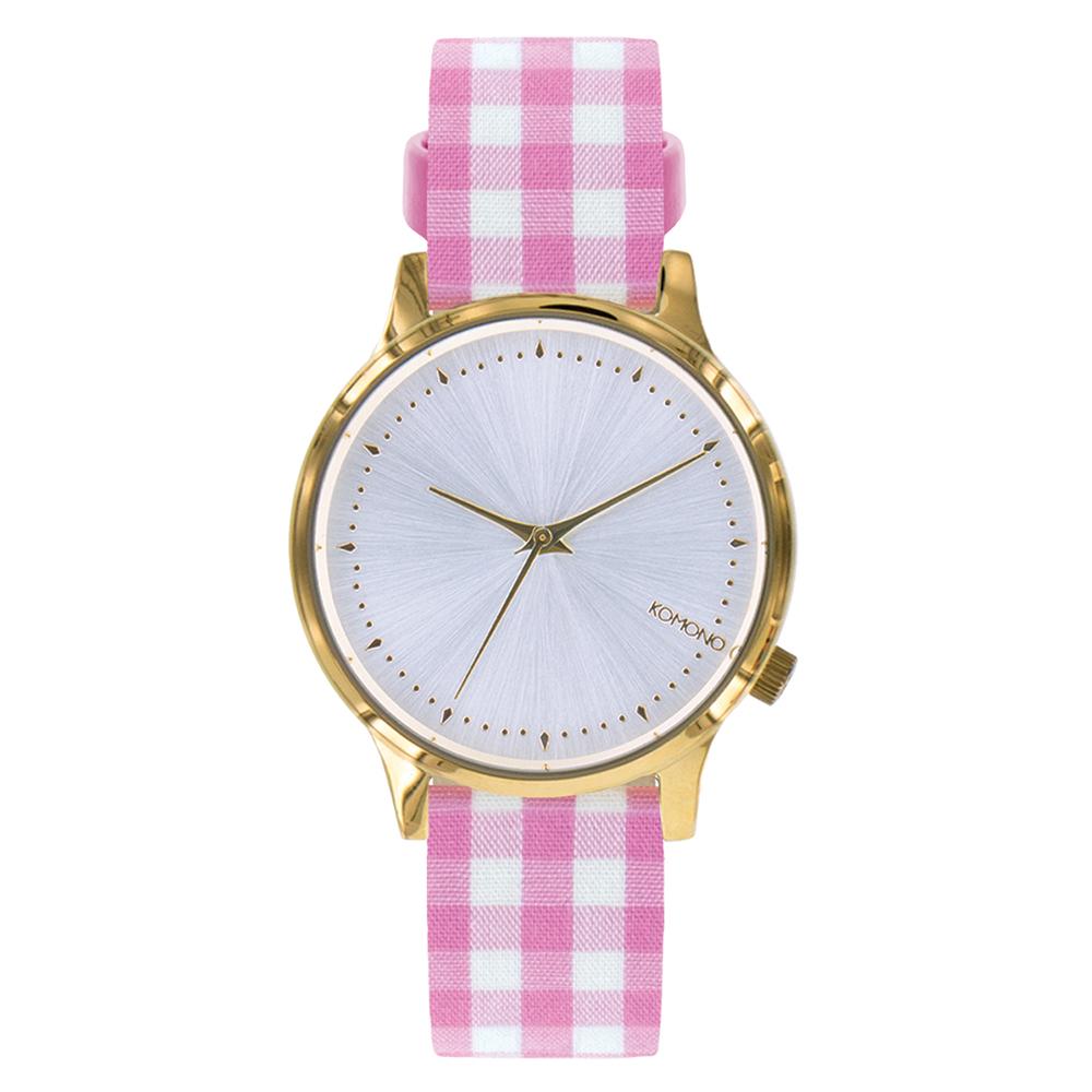 KOMONO Estelle Vichy 腕錶-粉紅瑪莉格紋/36mm