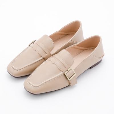 River&Moon樂福鞋 經典側扣可後踩方頭小皮鞋 奶茶杏