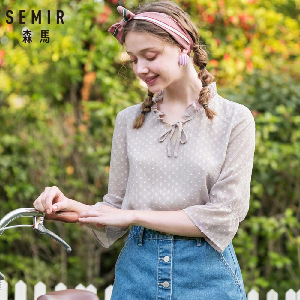 SEMIR森馬-立體燒花雪紡綁帶上衣-女 product image 1