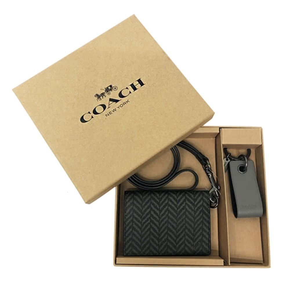COACH 男款4卡PVC/牛皮識別證悠遊卡附鑰匙圈禮盒(墨綠/黑)