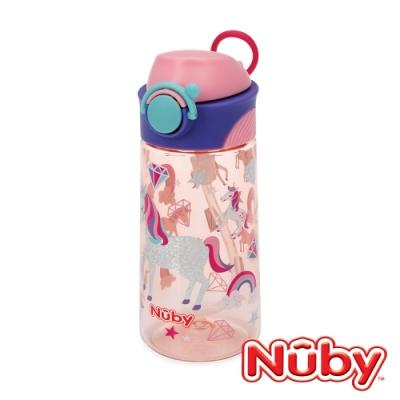 Nuby 晶透運動隨行杯(細吸管)_閃亮款_450ml-獨角獸