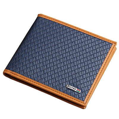 A+ accessories 橘色邊框編織壓紋多功能男用短夾(藍色)