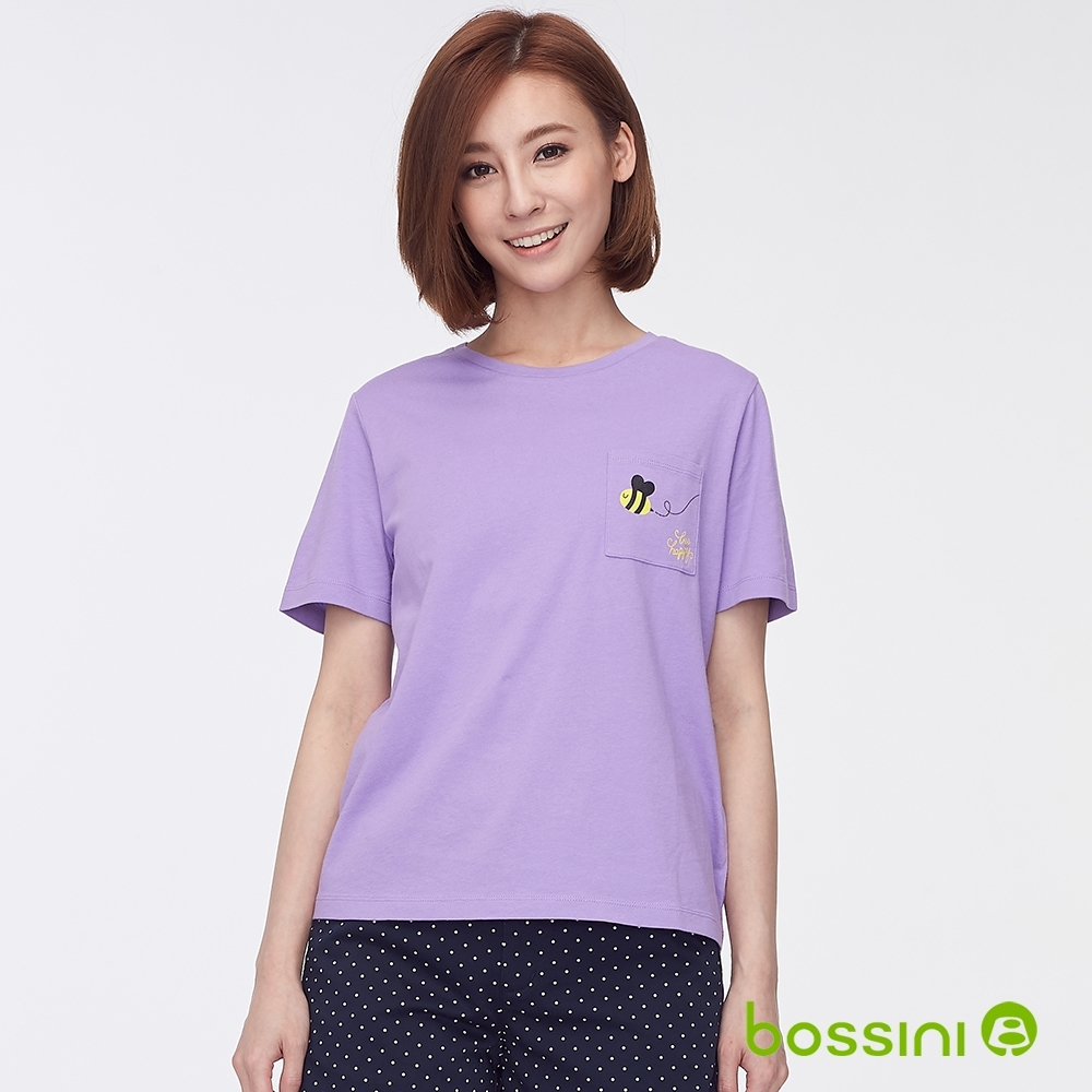 bossini女裝-圓領短袖口袋上衣粉紫