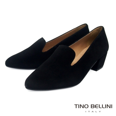 Tino Bellini西班牙進口溫潤全真皮樂福中跟鞋_黑