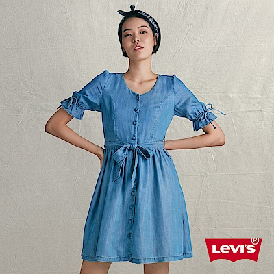 Levis 女款牛仔連身裙 V型領口 袖口 腰間蝴蝶結抽帶設計