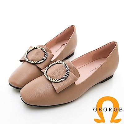 【GEORGE 喬治皮鞋】知性金屬飾扣圓頭真皮平底鞋-粉色
