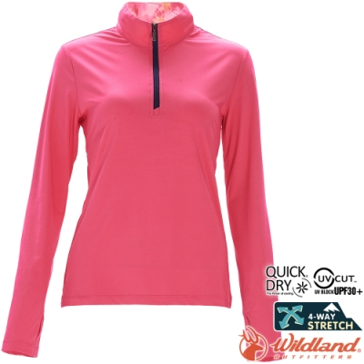Wildland 荒野 0A71619-16蜜桃紅 女彈性針織輕薄長袖上衣
