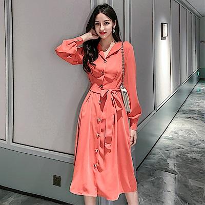 DABI 韓國風襯衫淑女修身收腰顯瘦襯衣長袖洋裝