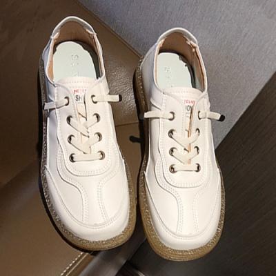 KEITH-WILL時尚鞋館-綁帶街頭時尚方頭小白平底鞋-米色