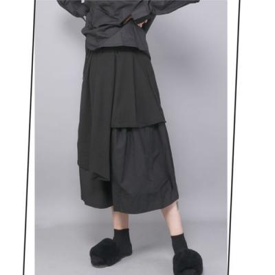 設計所在Style-原創設計小眾款顯瘦黑色寬鬆中長裙