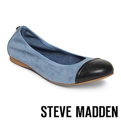STEVE MADDEN-BABETTE撞色圓頭平底鞋-絨藍