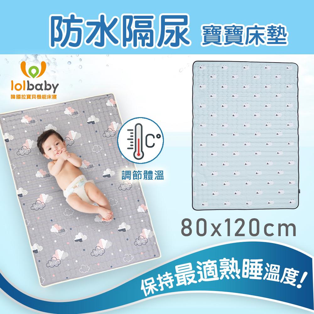 【韓國Lolbaby】Hi Jell-O涼感蒟蒻床墊加大_防水格尿款_嬰兒兒童床墊(青草綿羊)