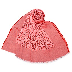 Calvin Klein CK滿版LOGO絲質披肩圍巾-紅色