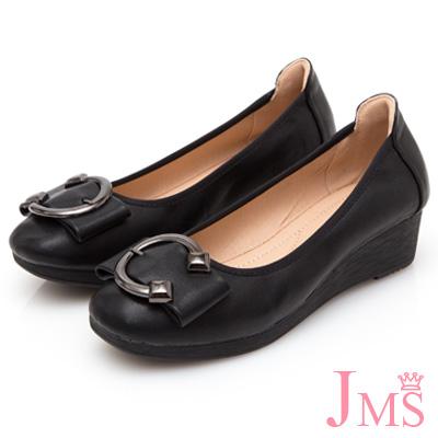 JMS-優雅大方C字金屬飾釦蝴蝶結楔型鞋-黑色