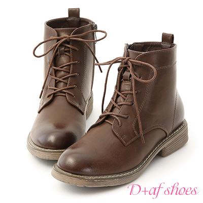 D+AF 都會酷感.仿舊感刷色綁帶短靴*棕
