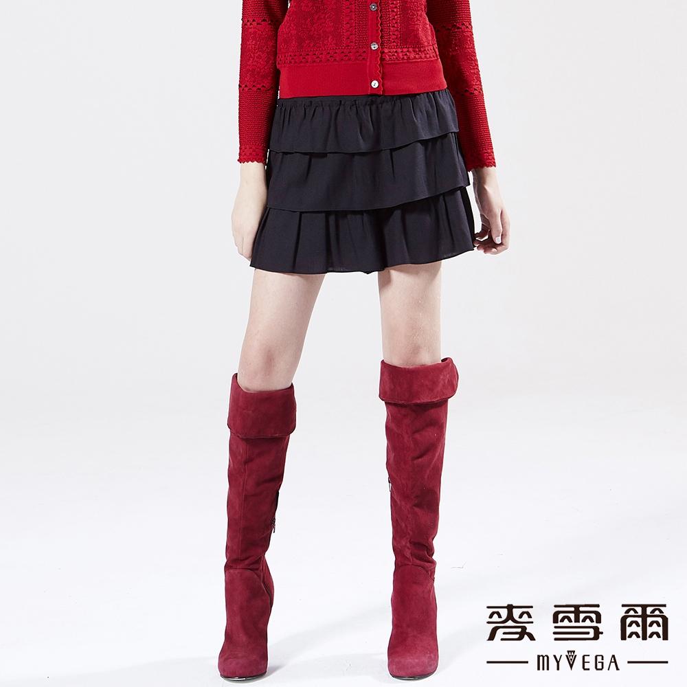 【麥雪爾】羊毛輕柔蛋糕層次褲裙-黑