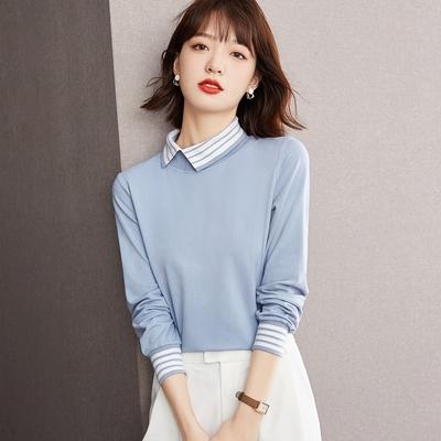【KISSDIAMOND】時尚小姐姐翻領拼接時尚七分袖上衣(KDT-6019)