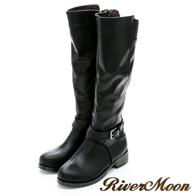 River&Moon大尺碼-百搭扣環彈力拼接長靴-黑