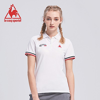 le coq sportif 法國公雞牌吸濕排汗多色經典短袖POLO衫 女-白