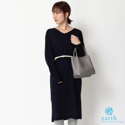 earth music 素面V領針織連身洋裝