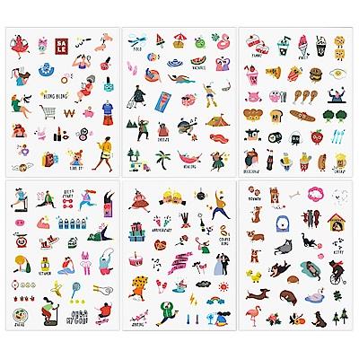 ICONIC 每一天手帳貼紙組合包-可愛插畫款(6款入)