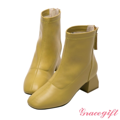 Grace gift-韓系方頭造型粗跟靴 芥末黃
