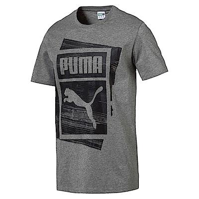 PUMA-男性流行系列重疊Logo短袖T恤-中麻花灰-亞規
