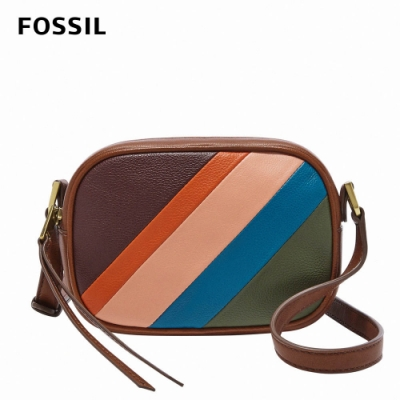 【FOSSIL】Maisie 真皮立體斜背包-五彩拼接 SHB2704195
