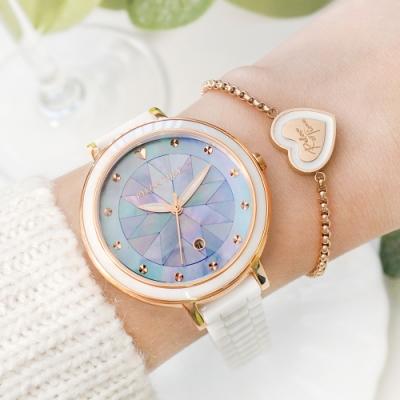 【加碼送手鍊】RELAX TIME 極光系列-半陶瓷腕錶-銀河藍 (RT-92-6)