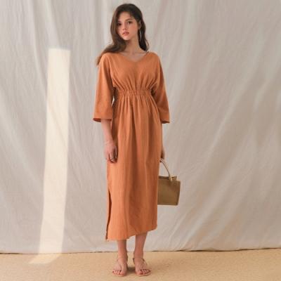 AIR SPACE LADY V領七分袖縮腰開衩洋裝(橘)