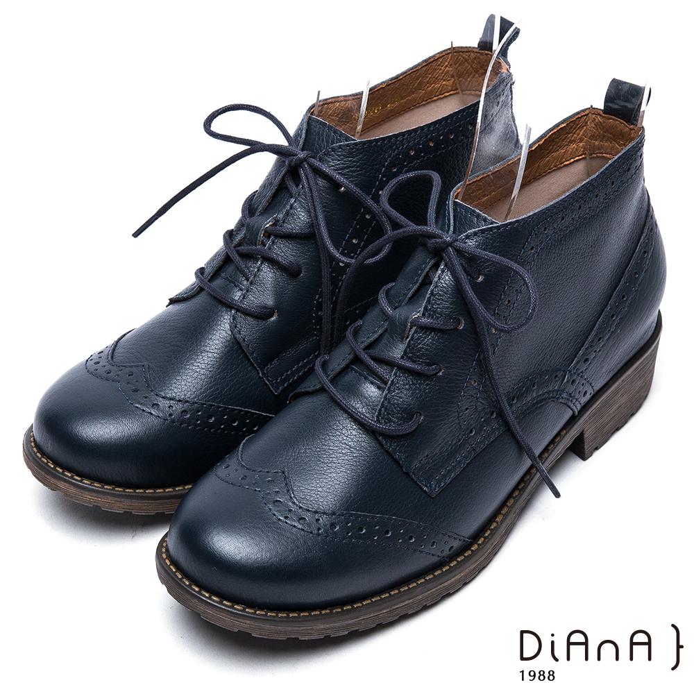 DIANA牛津雕花綁帶真皮短靴-復古英倫-藍