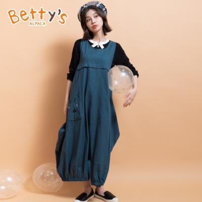 betty's貝蒂思 設計感棉麻長洋裝(湖水綠)