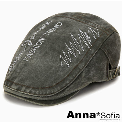 AnnaSofia 率性波線文字水洗牛仔 鴨舌帽小偷帽(深灰綠系)