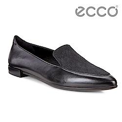 ECCO SHAPE POINTY 時尚尖頭馬毛拼接平底樂福鞋 女-黑